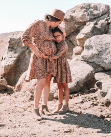 Polka dots print maxi dress mum and daughter outfit