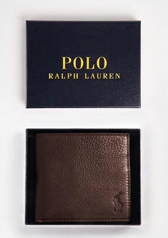Polo Ralph Lauren leather billfold wallet in brown from Asos.