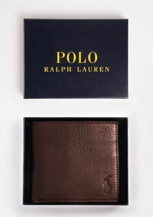 Polo Ralph Lauren leather billfold wallet in brown from Asos. Men wallet with zip