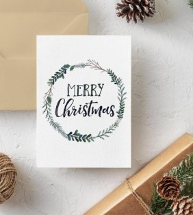 Printable Christmas Card, Merry Christmas, Watercolor Print, Instant Download,
