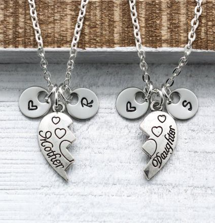 Puzzle Piece Heart Necklaces Mother and Daughter