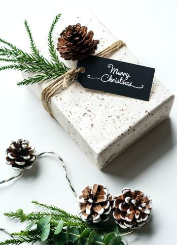 Quirky gift wrapping with pine cones