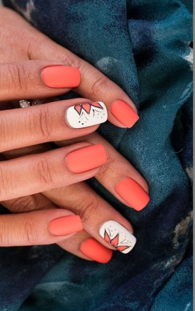 Red and white short manicure with flowers design