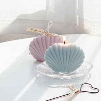 Seashell soy wax decorative candle