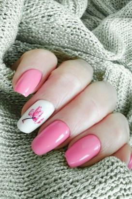 Semi-permanent medium length nails with flamingo design