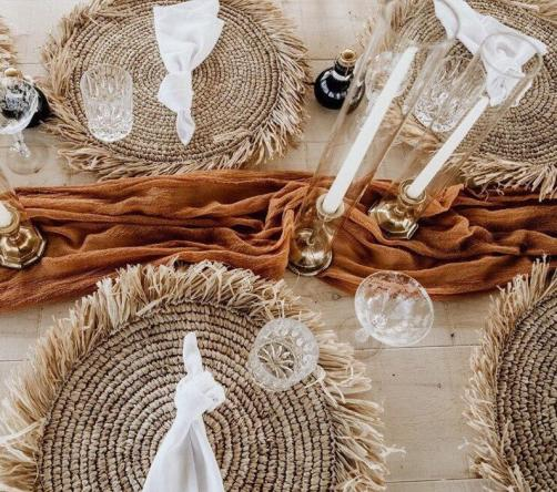 Set of 4 -6 Boho Raffia Placemats for outdoor dining table