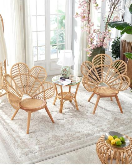 Set of two Peacock rattan chairs + small table