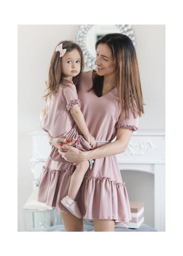 Tiered mini dress mother and daughter