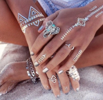 Simple white henna tattoo designs and silver elephant ring