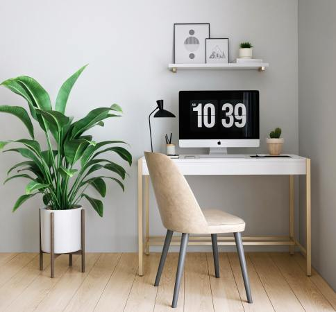 Simple work space desk setup at home