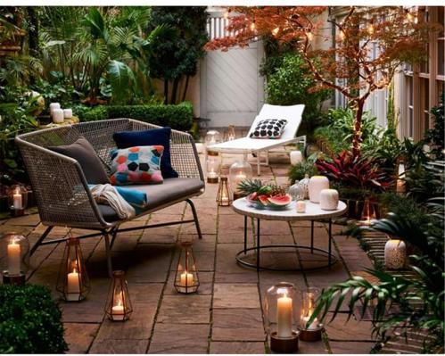 Small rattan bench for patio decor