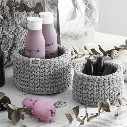 Small storage crocket basket for makeup and body care products