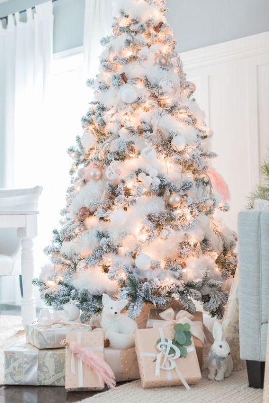 Snowy Christmas tree decorating idea