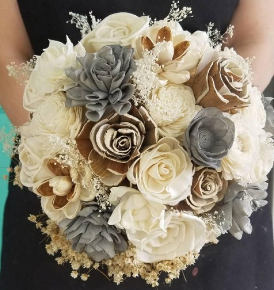 wooden bride bouquet