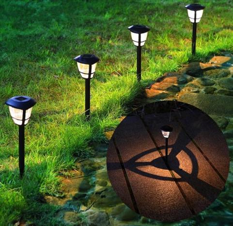 Standing solar powered lights for garden