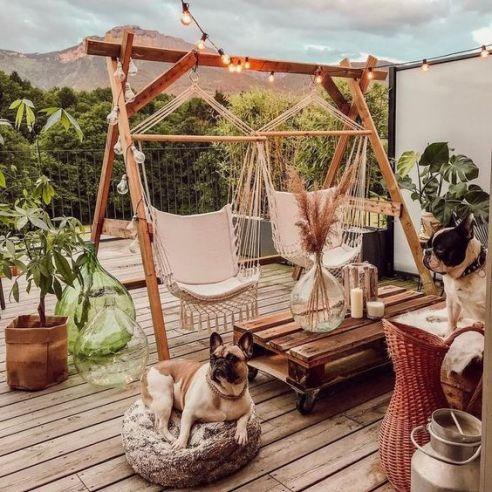 Super cozy patio decor and retro lighting