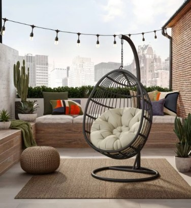 Swing Chair Hammock with Cushion & Stand for indoor - balcony or patio
