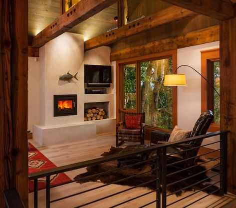 Traditional rustic cabin with fireplace  - a warm decor to cheer you up