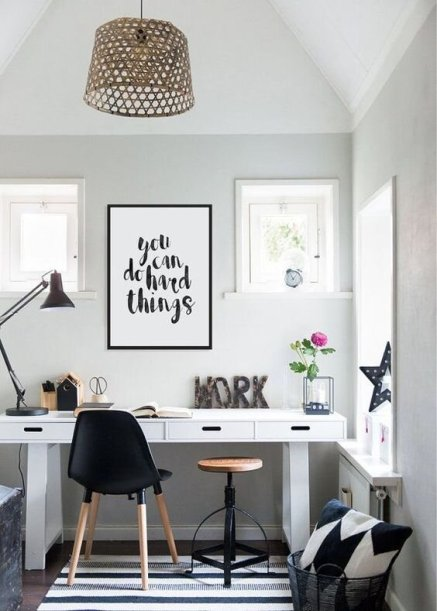 White and brights home office setup that will lit up  the inspiration within you