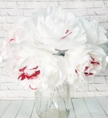 White paper Peonies with a Hint of Red