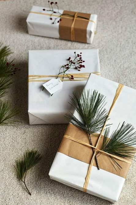 White paper and a green pine branches will surely make your gifts standout