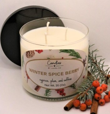 Winter Spice Berry Soy candle. decorative christmas pillar candles.