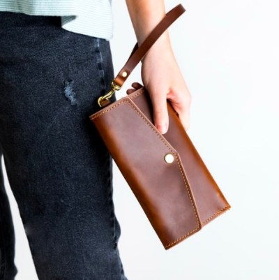 Womens Leather Wallet, Leather Clutch Wallet For Women, Wristlet Pocketbook Wallet.