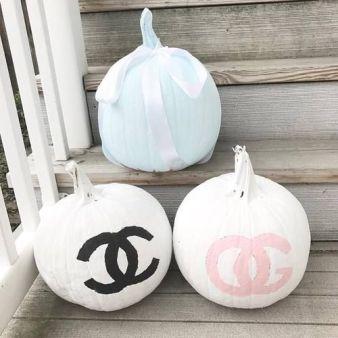 designer painted pumpkin for fall decor