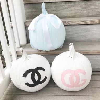 designer painted pumpkin for fall decor