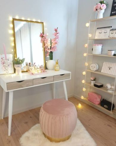 gold vanity mirror for teenage bedroom