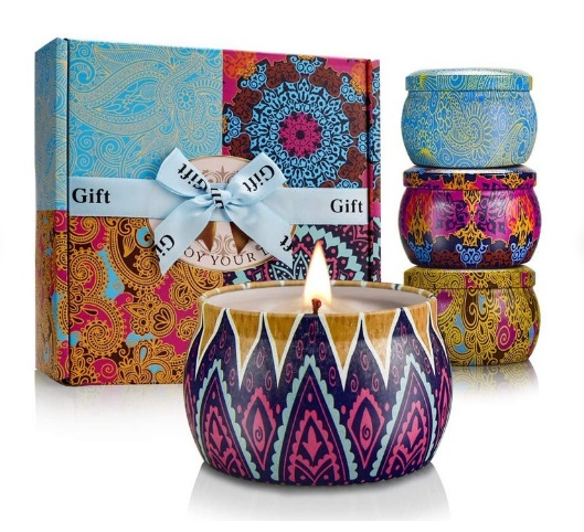 pack of four candles that comes with fragrances like Rose, Lavender, Lemon and fresh Mediterranean.