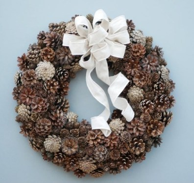 Brown pinecone Christmas wreath