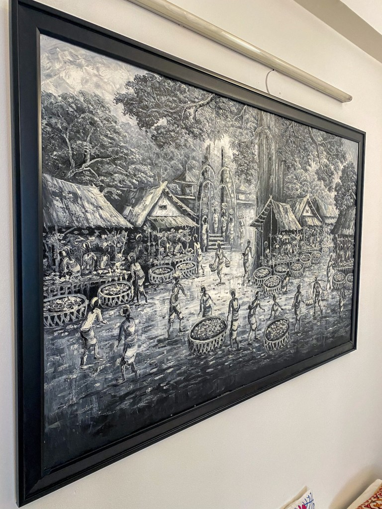 Black and white bali painting