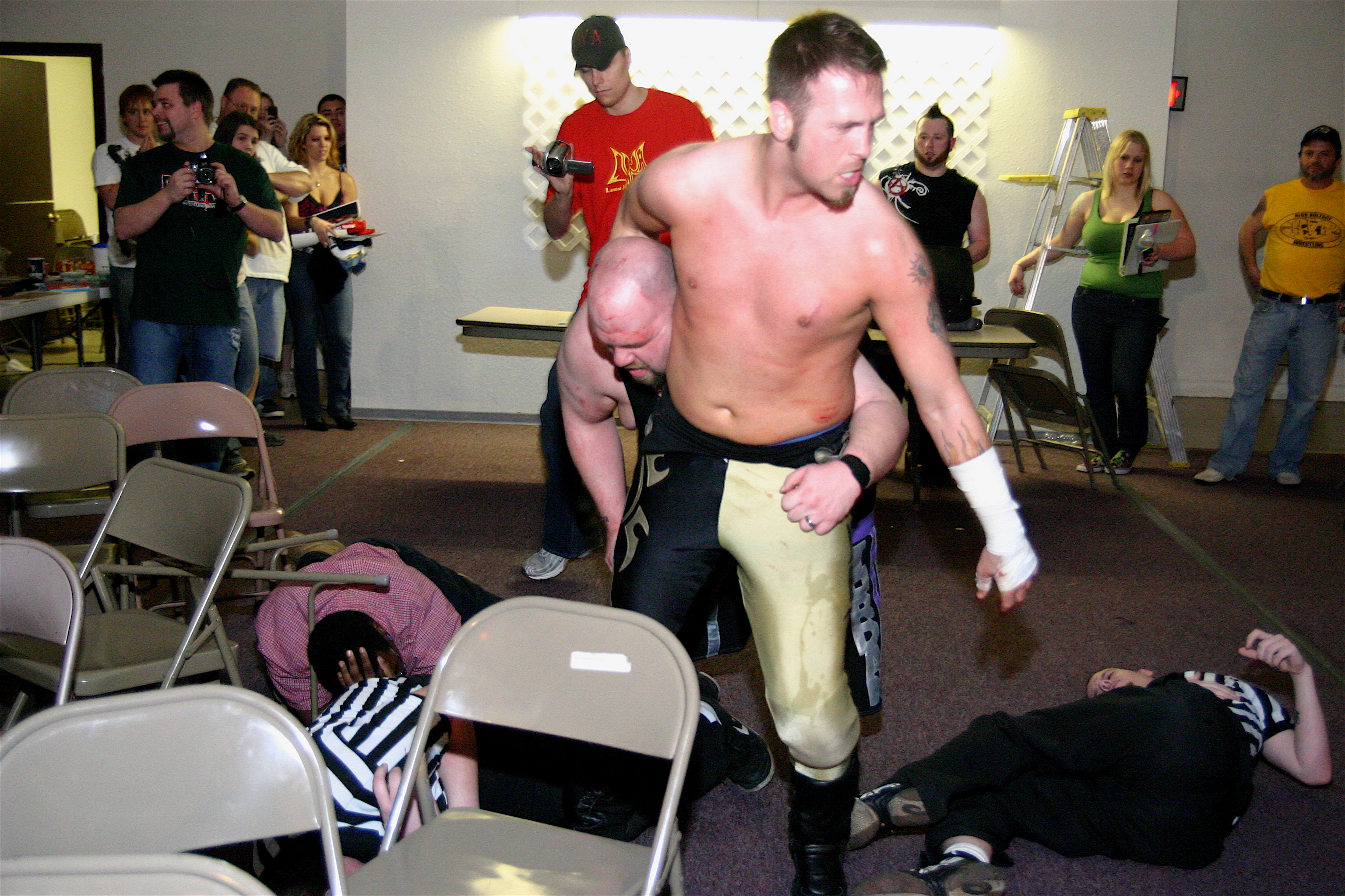 Bodies hit the floor when Wyatt and Lacey hooks up. This picture is from the fans bring the weapons match in March but the LWA Faithful was not please to see the The Belt Collector Jeremy Wyatt retain the LWA Championship and retire fan favorite Jordan Lacey in his hometown.