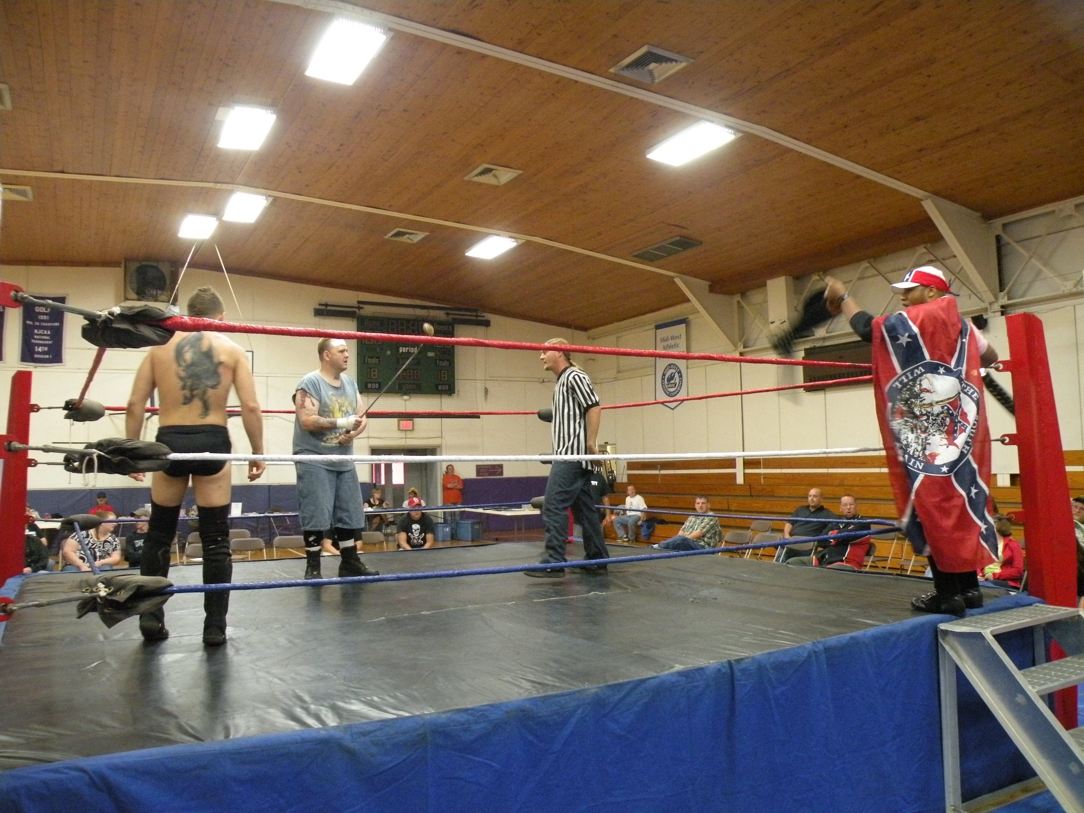 """The GAW Champ Matt Cage comes to ring to take on Dingo and Ian Rotten.(Photo Credit Brian """"Flair"""" Kelley)"""