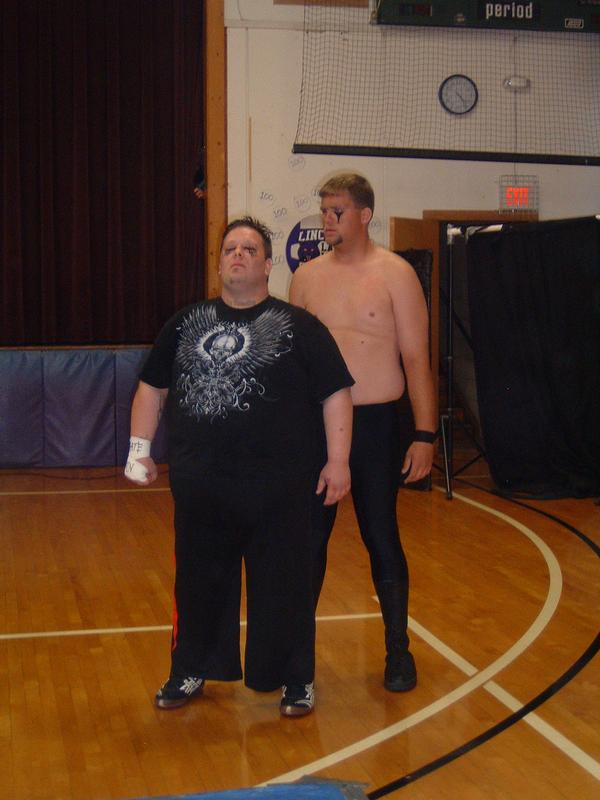 """The fans do not like the tag team of Gavin Alexander and Big Cody  (Photo Credit Brian """"Flair"""" Kelley)"""
