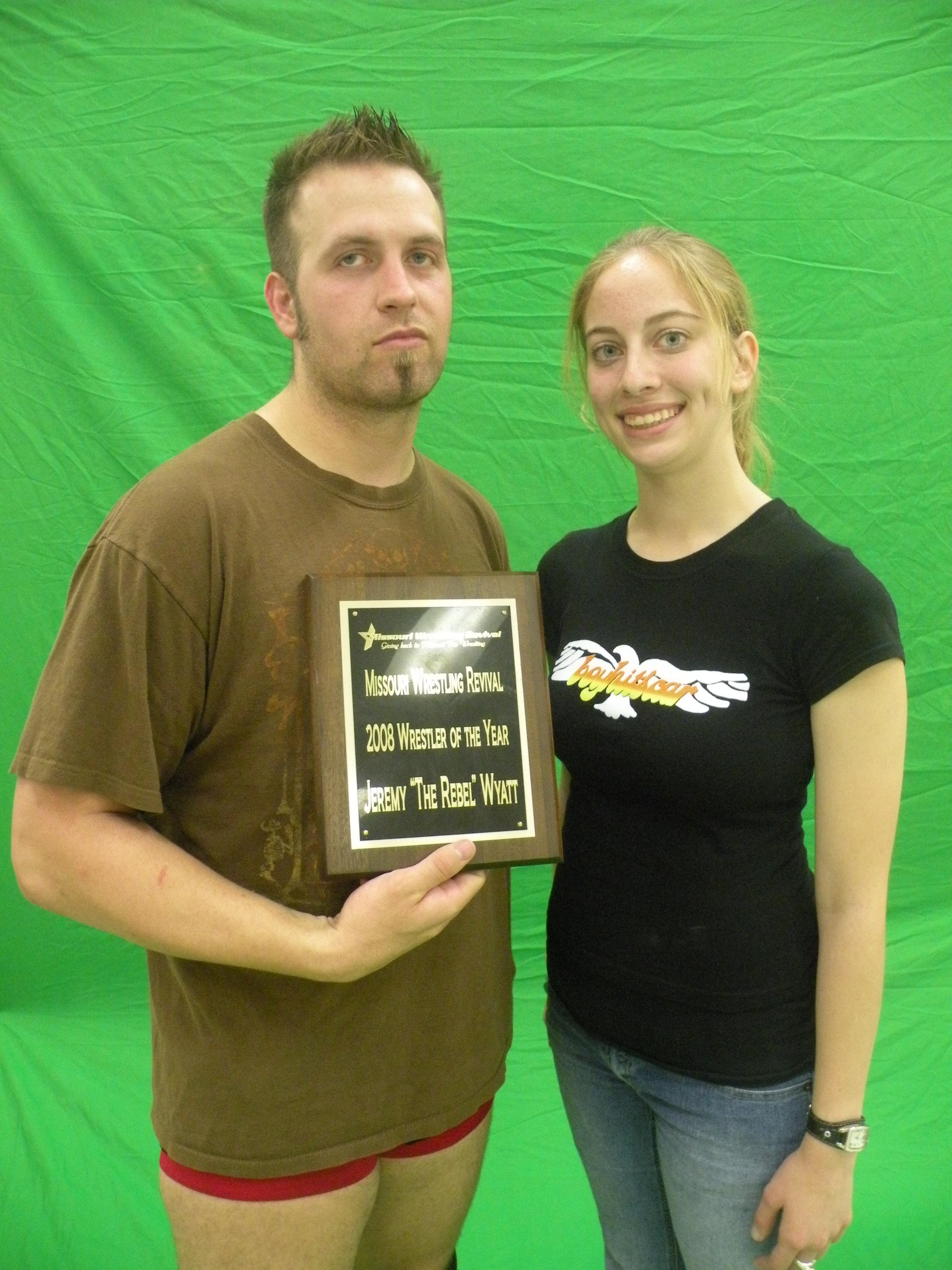 2008 MWR Wrestler of the Year Jeremy Wyatt with MWR'S Kari Williams .