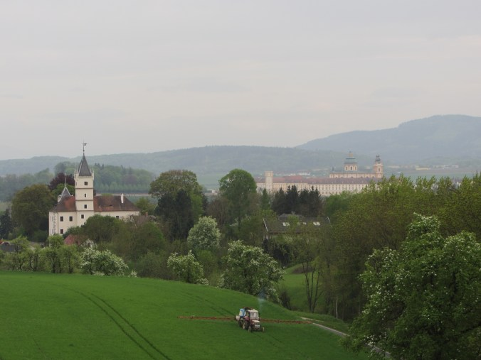Benedictine monastery of Melk in background with castle of Emmersdorf