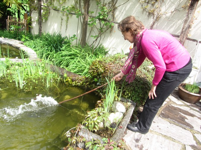 My sister Christi working at her pond