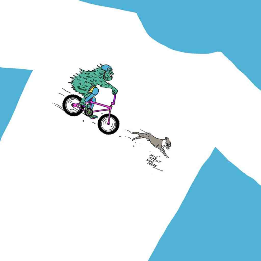 mountain bike trail dog t-shirt by Misspent Summers and Jon Gregory.