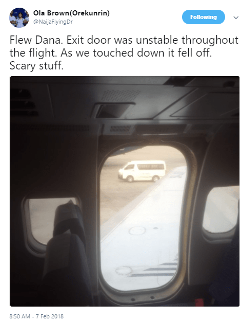 Photos: Exit door of Dana Airline plane falls off as it touched down