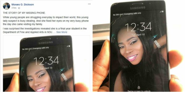 Man exposes lady who visited him and stole his phone