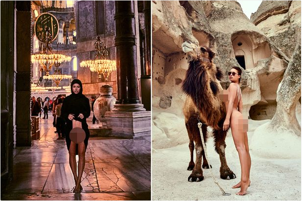 Model Marisa Papen sparks outrage by flashing v*gina at famous Turkey mosque