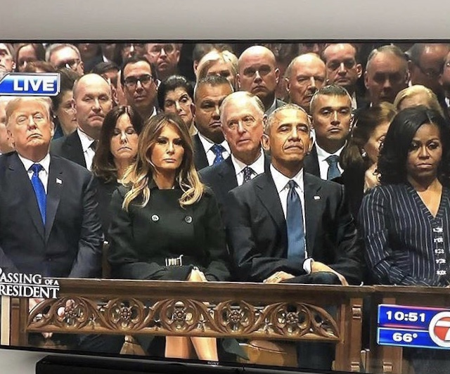 Video: The Trumps and The Obamas at George H.W Bush's funeral