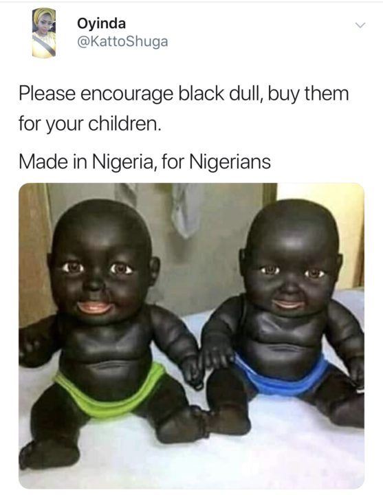 Twitter users react to made in Nigeria 'black dolls'