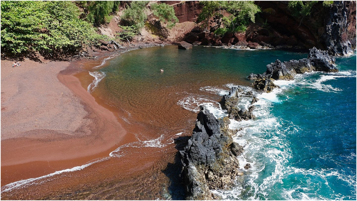 Red Sand Beach-The road to Hana maui - Road or destination? Guest Post by Lara Olivia Miss Portmanteau? Club Elsewhere - The World's Travel Diary edited by Rosie Bell