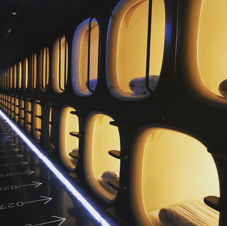 Capsule pod hotel in Japan Tokyo
