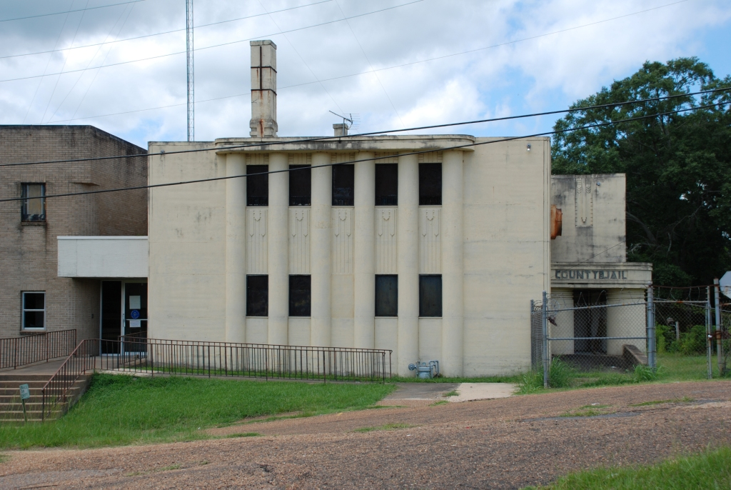 Holmes County Jail, built in 1936 as Public Works Administration (PWA) project #1019, this jail was designed by the Jackson firm of N.W. Overstreet & Town (this was after Town became a partner in the firm--when he designed the hospital, he wasn't yet a partner). The jail is a designated Mississippi Landmark.