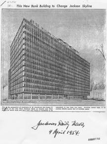 Preliminary rendering of First National Bank (now Trustmark) in downtown Jackson by Bob Farr for N.W. Overstreet and James T. Canizaro