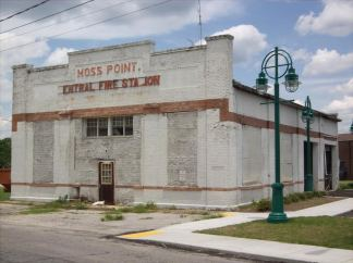 old Moss Point City Hall and Fire Station in sunnier times.